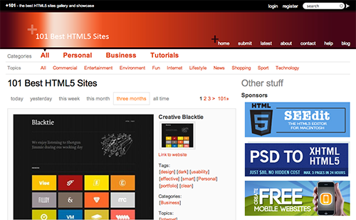 101 Best HTML5 Sites