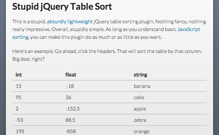 jQuery Table Sort