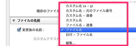 ファイル名の形式を選択