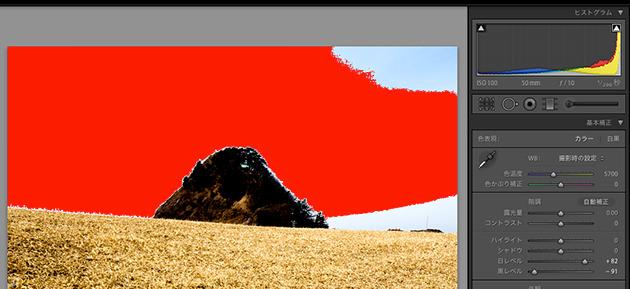 白とびは赤色で表示される
