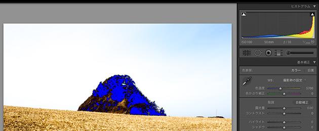 黒つぶれは青色で表示される