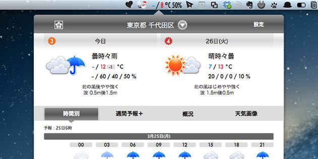 今日と明日の天気を確認