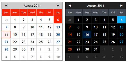 jQueryプラグインのカレンダー