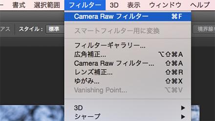 Camera Raw フィルターを開く