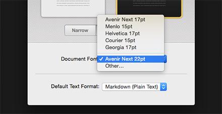 Document Fontの候補に表示