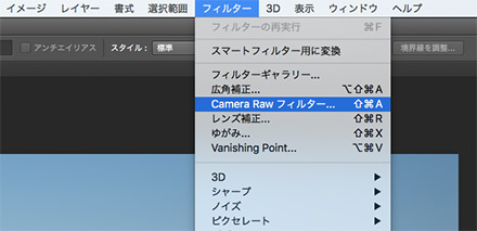 Camera Raw フィルターを選択