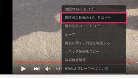 現時点の動画のURLをコピー