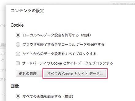 すべての Cookie とサイト データ