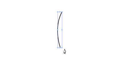 縦のゆるい弓なりの曲線