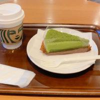 宇治抹茶ケーキとカフェアメリカーノ