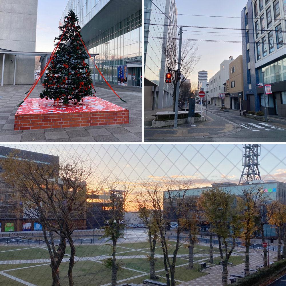 クリスマスツリーと朝焼け